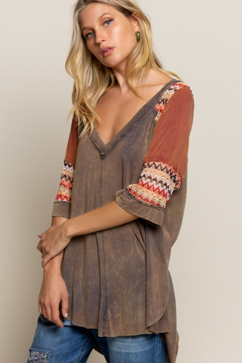 MISS-oni Boho Knit top- OLIVE MIX