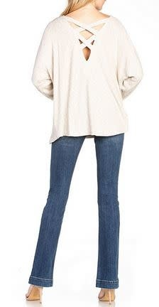 MISS ME knit cowl neck cross back top