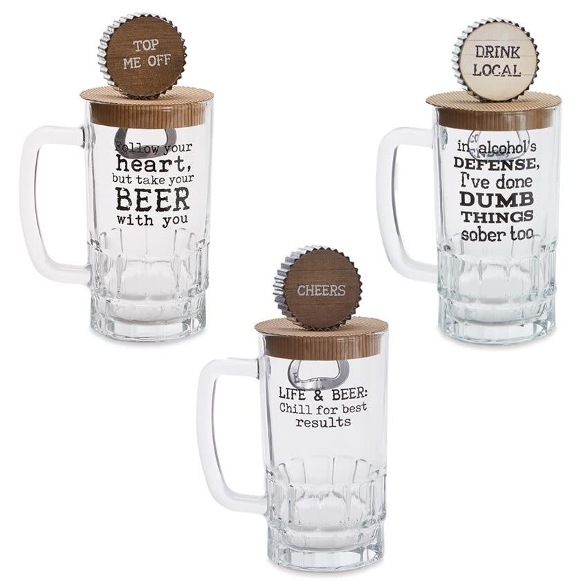 MUD PIE PINT GLASS & BOTTLE OPENER SET