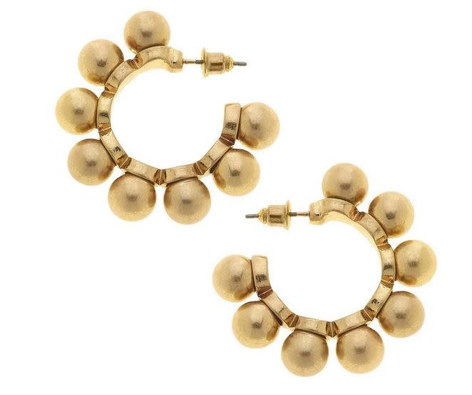 CANVAS BELLA STATEMENT EARRINGS IN WORN GOLD