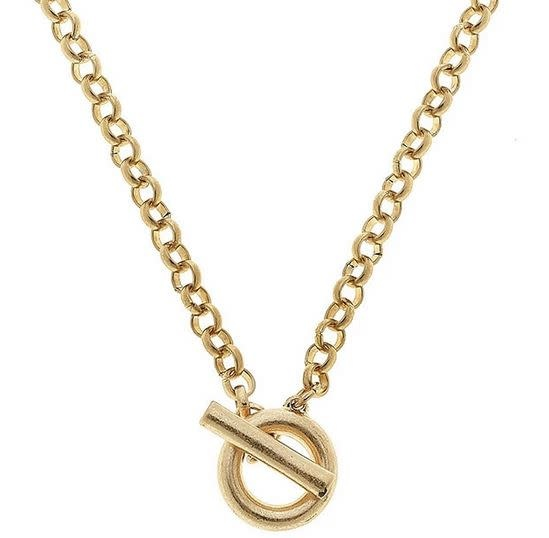CANVAS PAIGE T-BAR NECKLACE IN WORN GOLD
