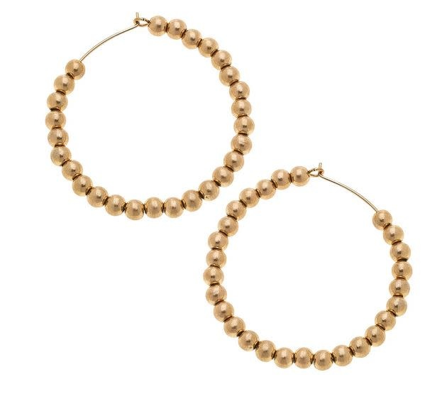 CANVAS ARIA LARGE SPHERE HOOP EARRINGS IN WORN GOLD