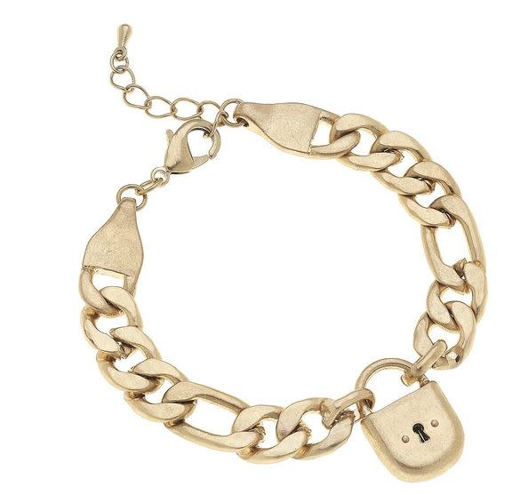 CANVAS WHITNEY PADLOCK CHAIN BRACELET IN WORN GOLD