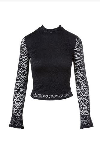 SADIE & SAGE JANN LACE LEOPARD MOCK NECK TOP