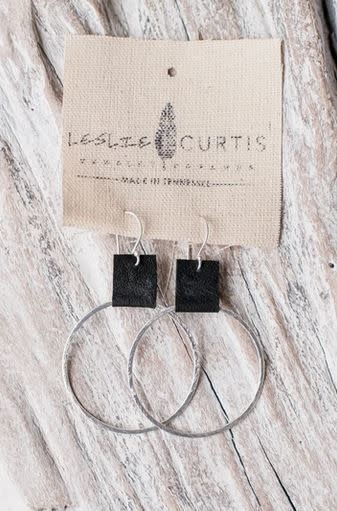 LESLIE CURTIS JEWELRY LAURA SILVER/BLK LEATHER