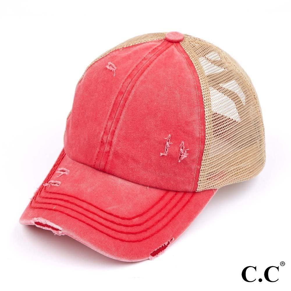 C.C BEANIES DISTRESSED CRISS CROSS PONY CAP-RED