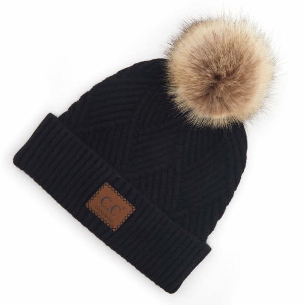 C.C BEANIES KNIT FUR POM BEANIE W/LEATHER PATCH-BLACK