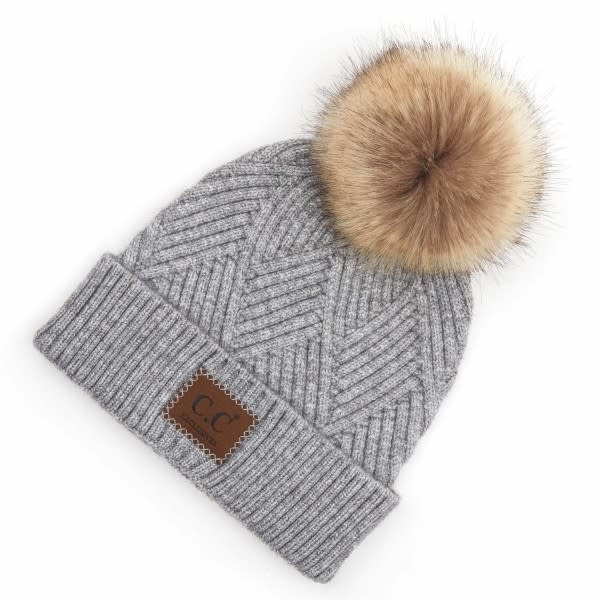 C.C BEANIES KNIT FUR POM BEANIE W/LEATHER PATCH-LT MELANGE GRAY MIX