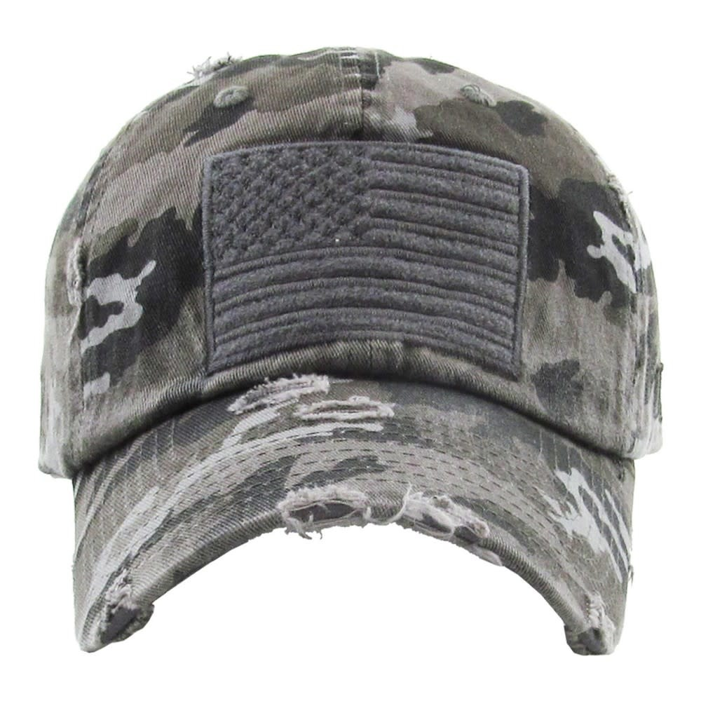 C.C BEANIES VINTAGE CAMO DISTRESSED AMERICAN FLAG BASEBALL HAT