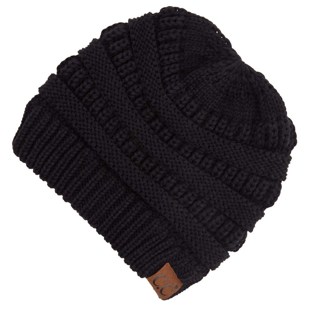 C.C BEANIES CRISS-CROSS PONYTAIL BEANIE- BLACK