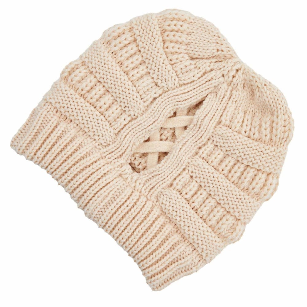 C.C BEANIES CRISS-CROSS PONYTAIL BEANIE- ALMOND OIL