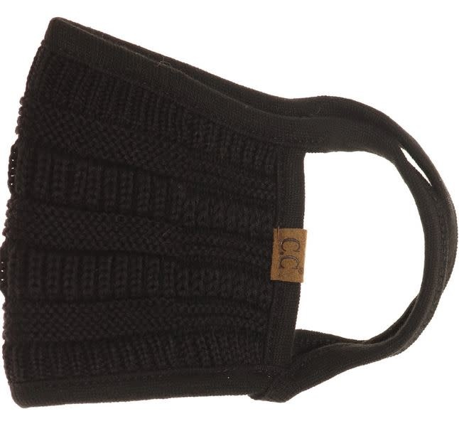 C.C BEANIES KNIT FALL WINTER C.C FACE MASK- BLACK