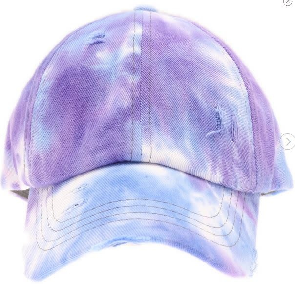 C.C BEANIES TIE DYE CRISS CROSS HI PONY BALL CAP- PURPLE