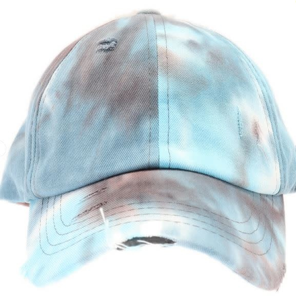 C.C BEANIES TIE DYE CRISS CROSS HI PONY BALL CAP- BROWN