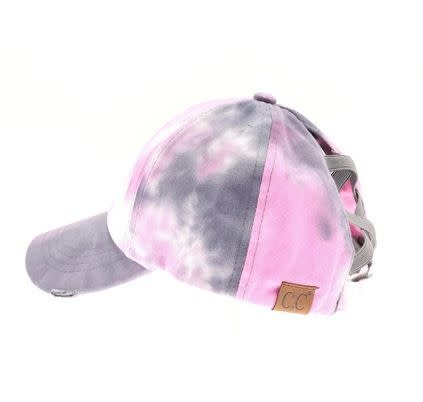 C.C BEANIES TIE DYE CRISS CROSS HI PONY BALL CAP-GRAY