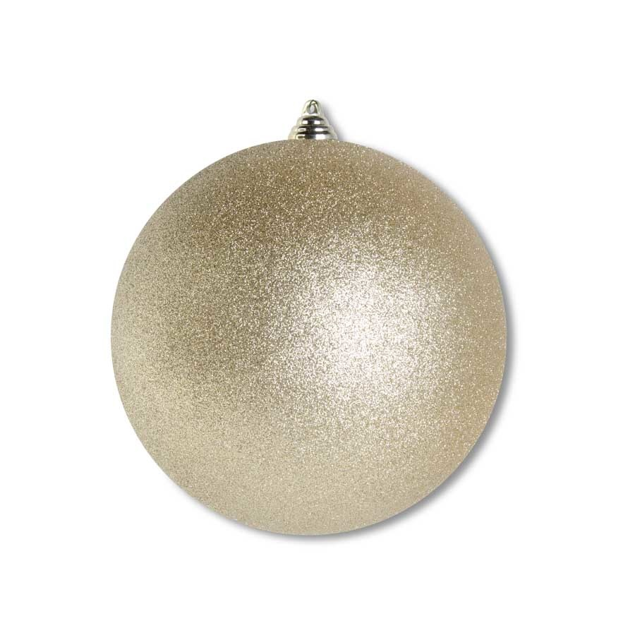 7.5 INCH GOLD GLITTERED SHATTERPROOF ROUND ORNAMENT