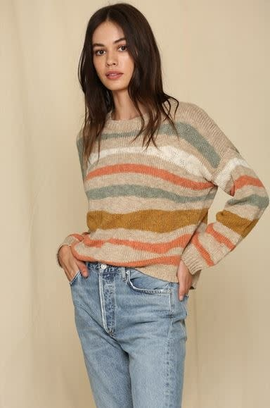 LONG SLEEVE BOAT NECK STRIPED SWEATER