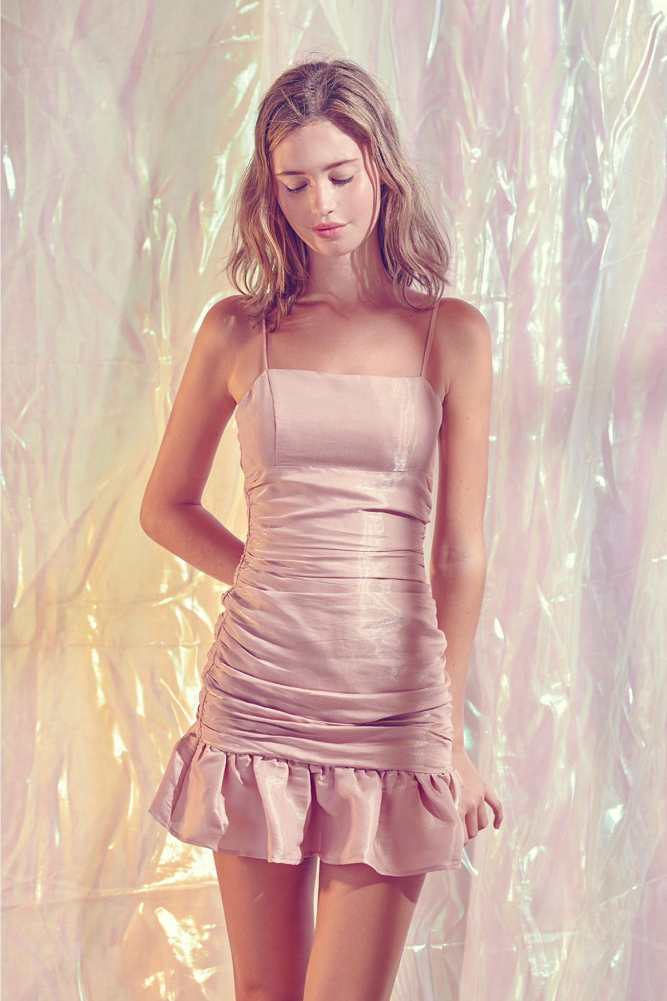 ROSE SHIMMER SLIP DRESS