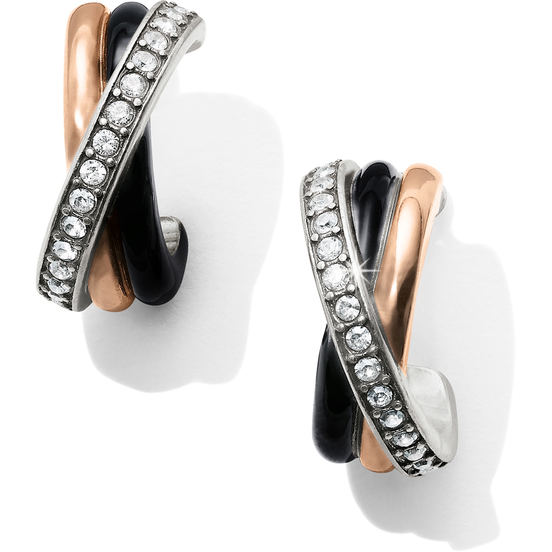 BRIGHTON NEPTUNE'S RINGS BLACK POST CLIP BACK HOOP EARRINGS