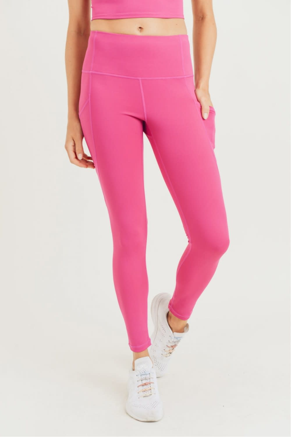MONO B MALIA FUSCHIA HIGH-WAIST LEGGINGS