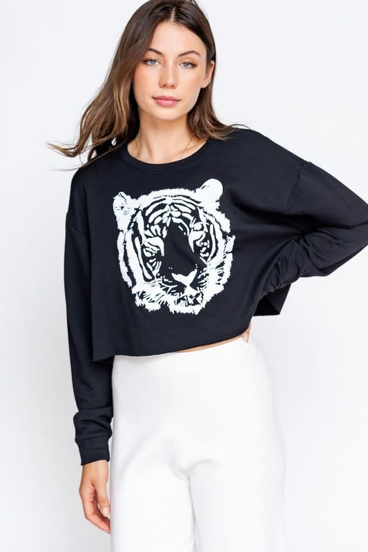 LE LIS TIGER SCREEN PRINT CROPPED TOP