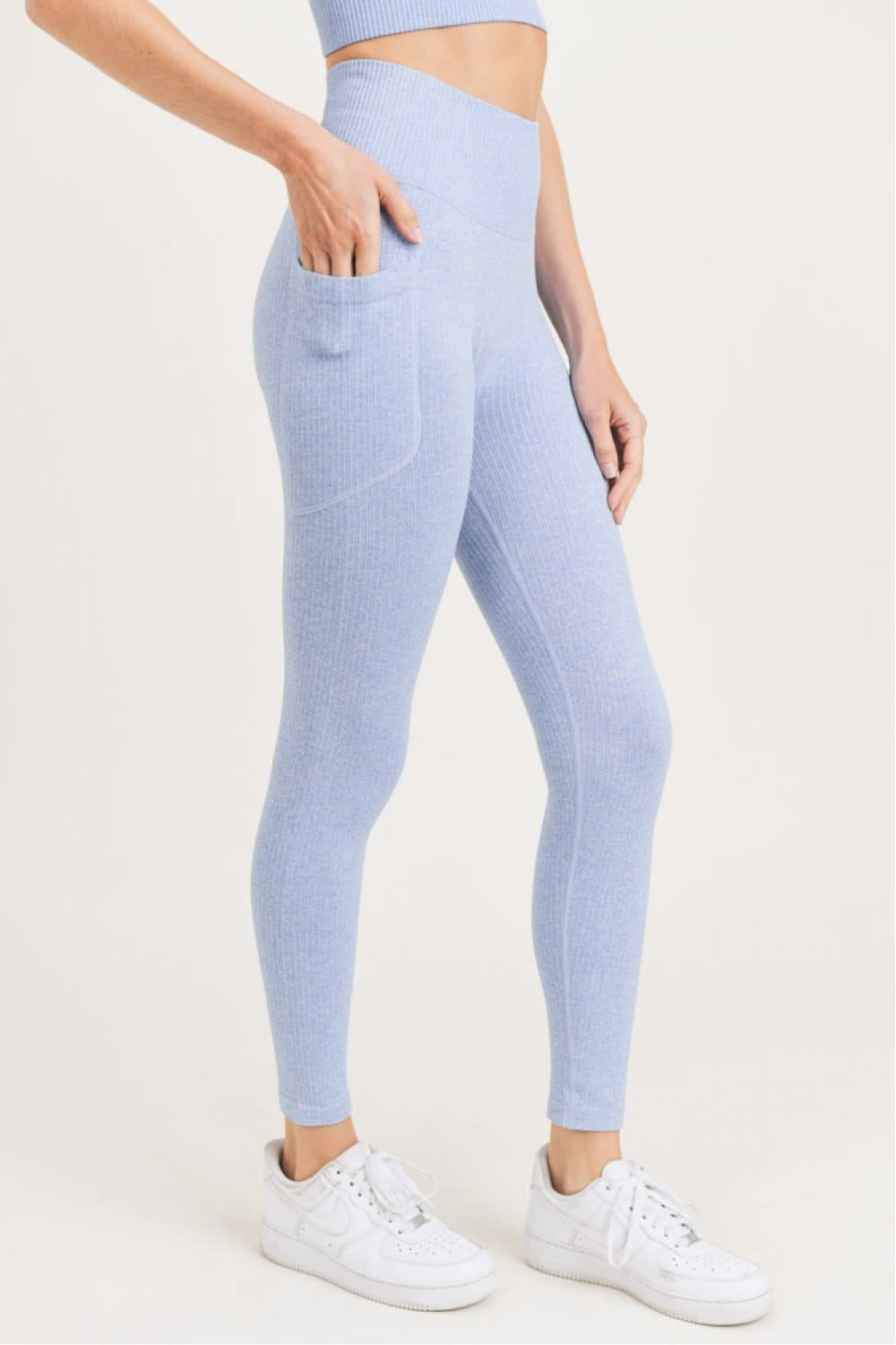 MONO B SEAMLESS RIBBED LEGGINGS - BLUE