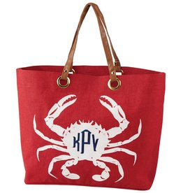 MUD PIE TIDELINE TOTE RED CRAB