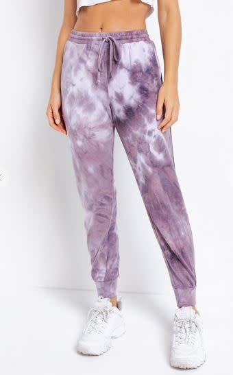 LE LIS RENA TIE DYE JOGGERS- PURPLE MIX
