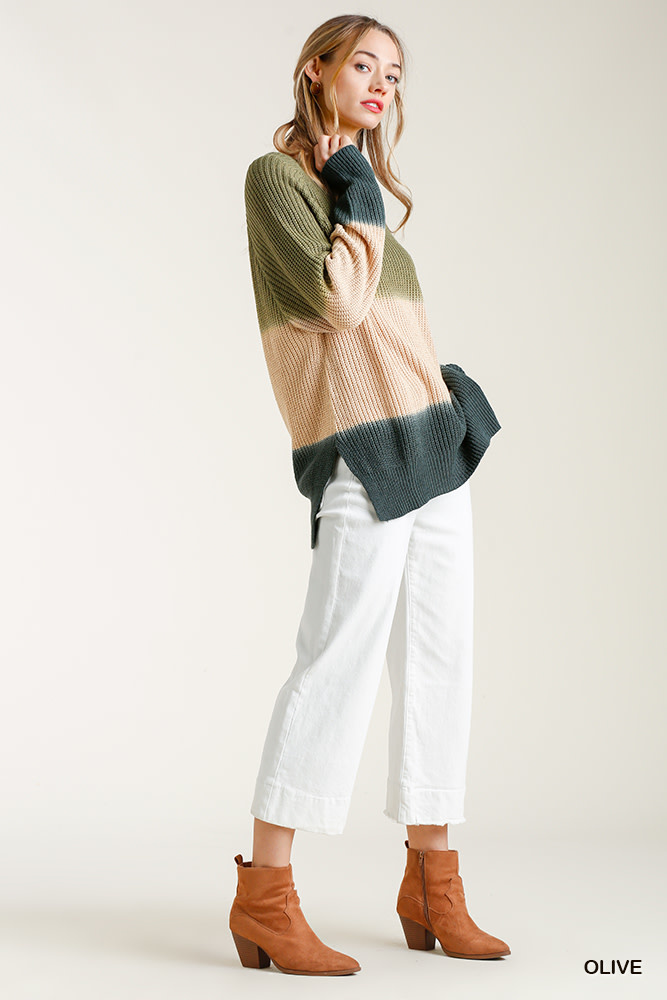 DIP DYE ROUND NECK SWEATER W/SIDE SLITS