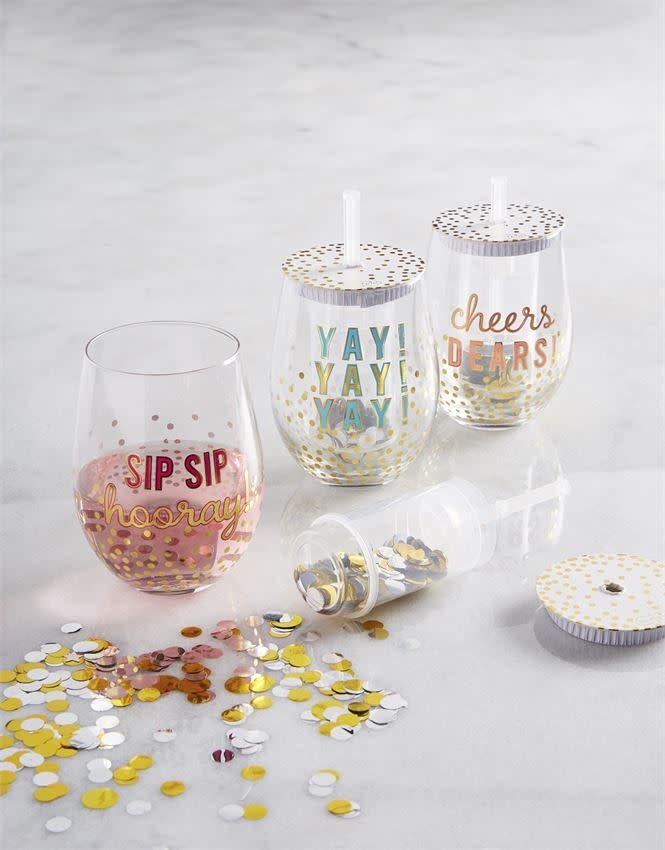 MUD PIE CONFETTI WINE GLASSES