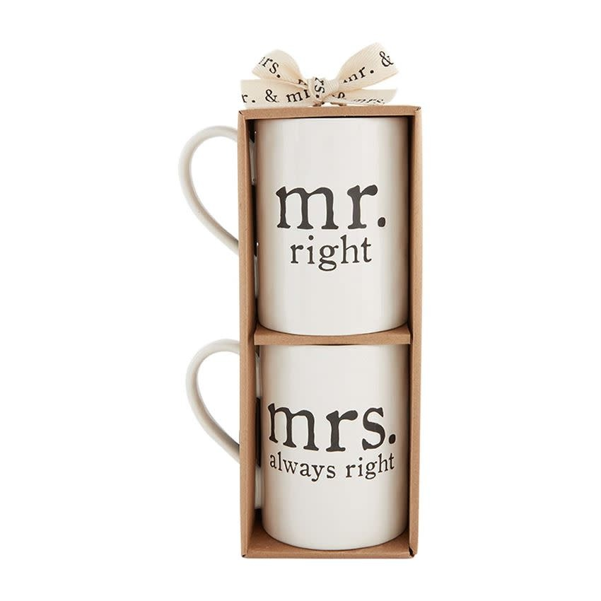 MUD PIE MR & MRS BOXED MUG SET