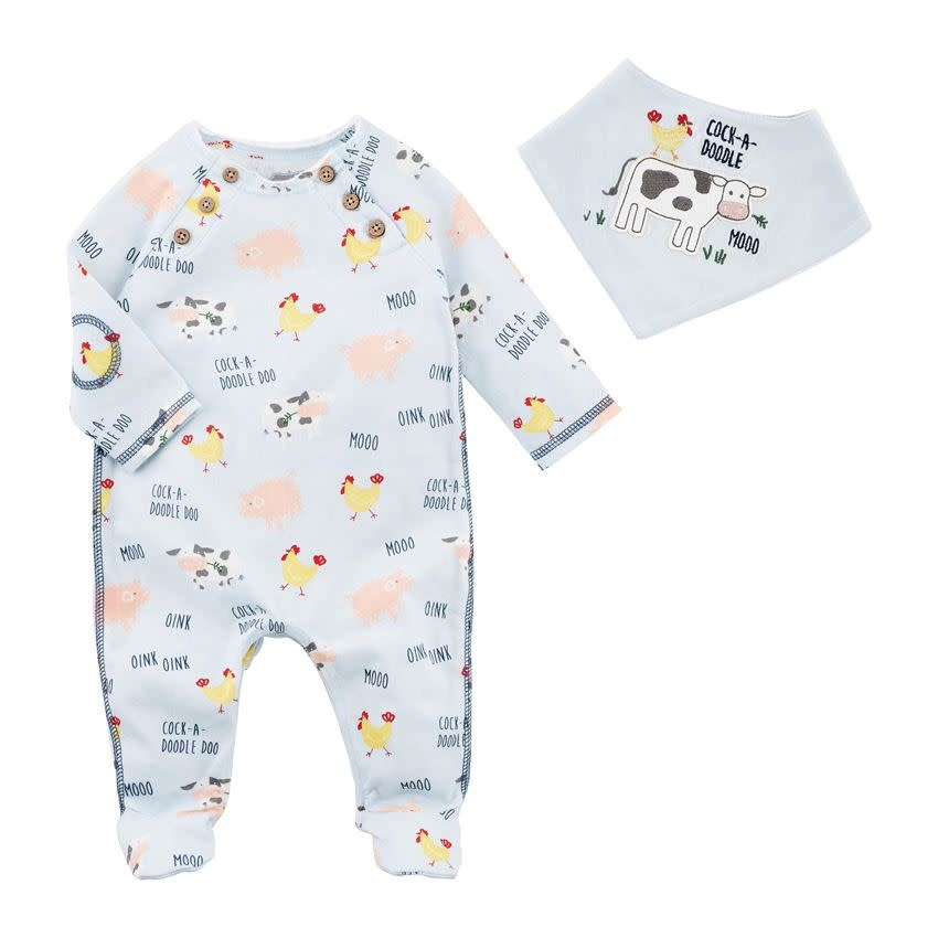 MUD PIE BOY COW SLEEPER & BIB SET 3-6 MONTHS