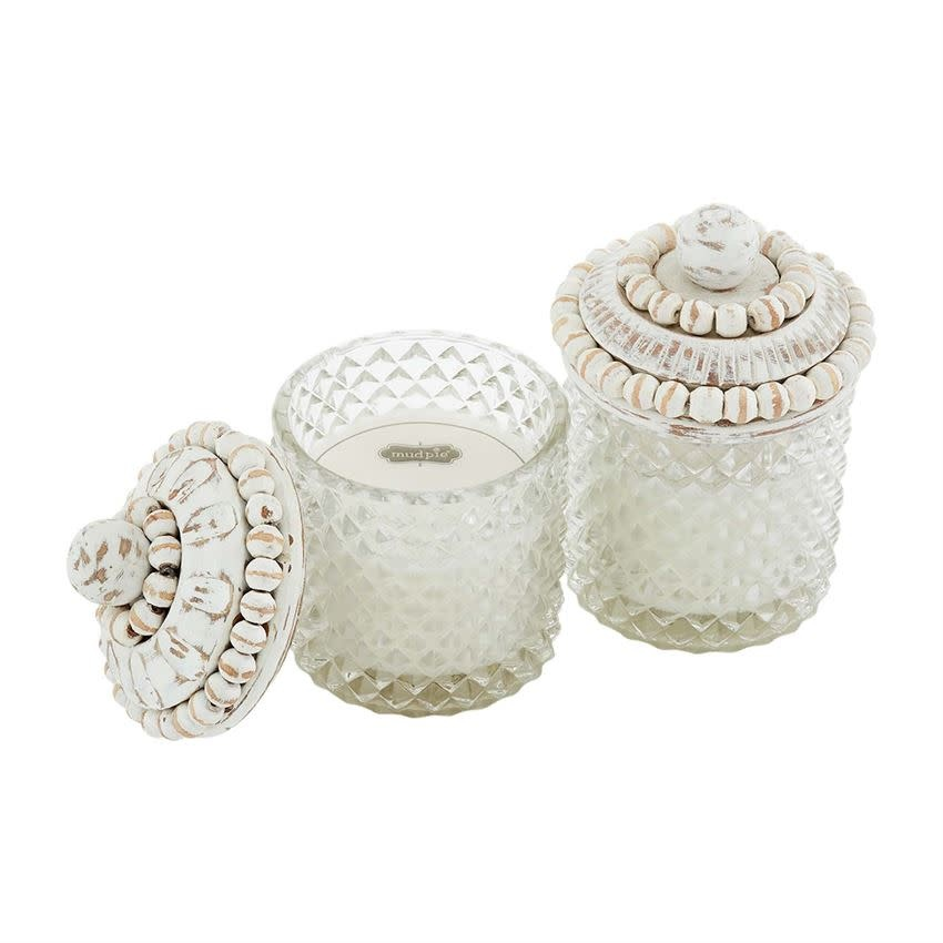 MUD PIE GLASS & BEADED WOOD CANDLES