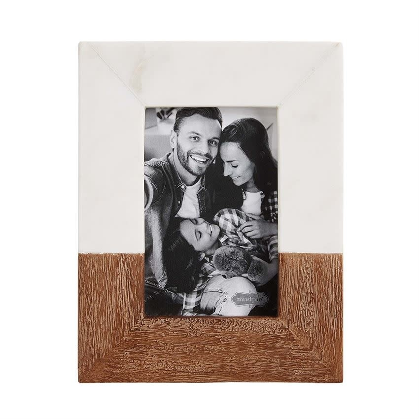 MUD PIE SMALL WOOD & MARBLE FRAME