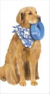 DOG GOLDEN W/BOWL FLOUR SACK TOWEL