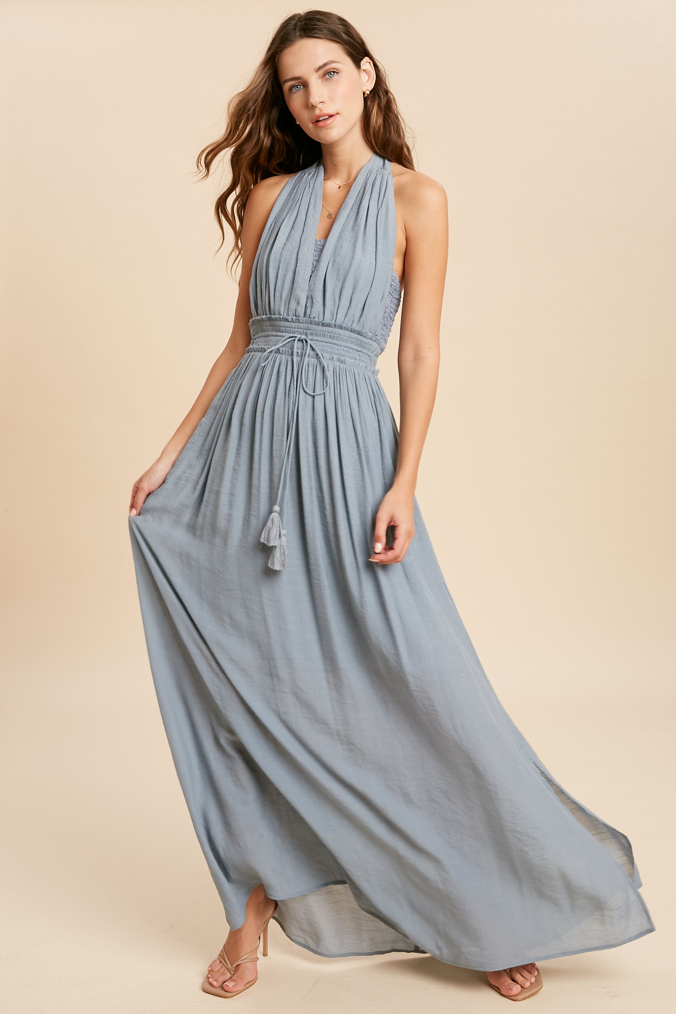 THE CHELSEA HALTER MAXI DRESS IN CLOUD BLUE