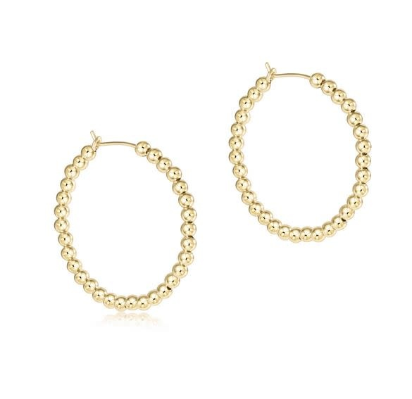 "ENEWTON BEADED GOLD 1.25"" HOOP- 3MM"