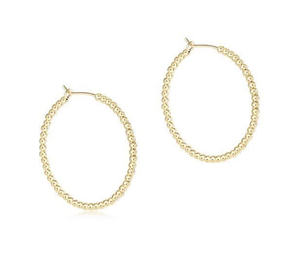 "ENEWTON BEADED GOLD 1.25"" HOOP- 2MM"