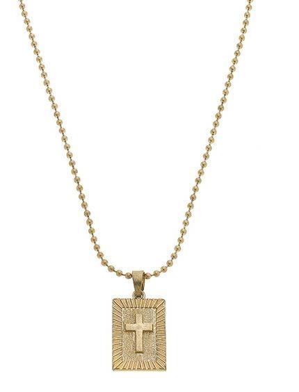 CANVAS Faith Cross Ball Chain Necklace in Worn Gold