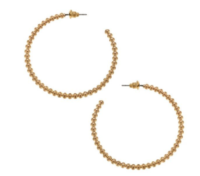 CANVAS CASTED BALL BEAD HOOP EARRINGS IN WORN GOLD
