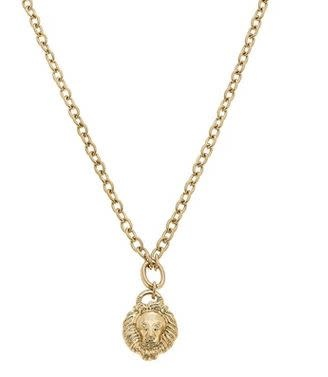 CANVAS PARKER LION'S HEAD CHARM NECKLACE IN WORN GOLD
