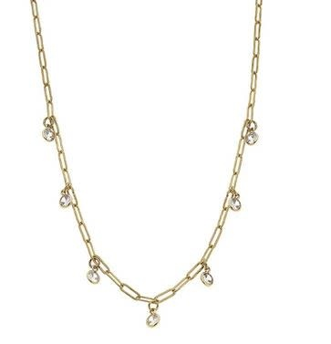 CANVAS LYRA PAPERCLIP CHAIN RHINESTONE DRIP NECKLACE IN WORN GOLD