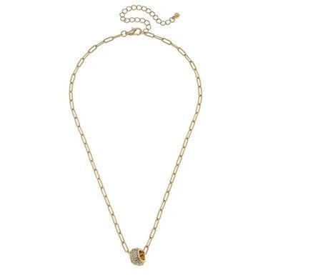 CANVAS CAROLINE PAVE BAUBLE NECKLACE IN WORN GOLD
