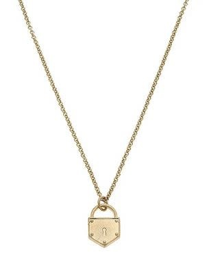 CANVAS PIPER DELICATE CHAIN PADLOCK NECKLACE IN WORN GOLD