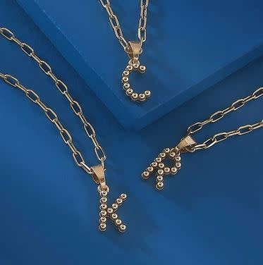 CANVAS LAYLA BEAD BALL INITIAL NECKLACES
