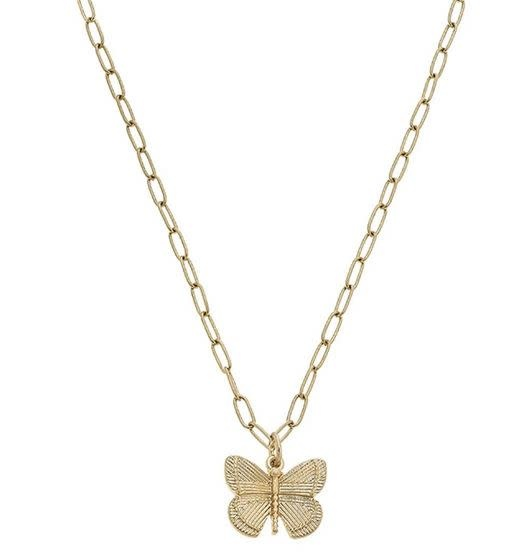 CANVAS CELESTE BUTTERFLY CHARM NECKLACE IN WORN GOLD