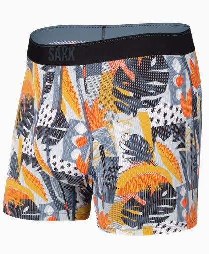 SAXX QUEST BOXER BRIEF-BLUE CUT WORK TROPICAL