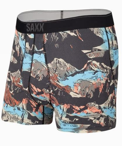 SAXX QUEST BOXER BRIEF-BLACK MOUNTAINSCAPE