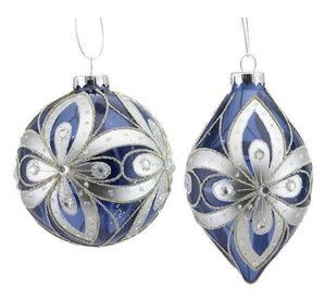 BLUE AND SILVER GLASS ORNAMENTS