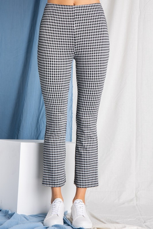 POLYGRAM HIGH WAIST GINGHAM PANT